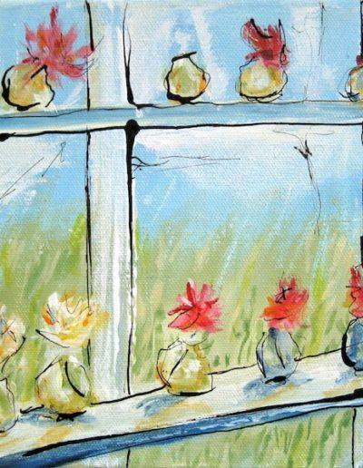 Rosendals Blumen im Fenster